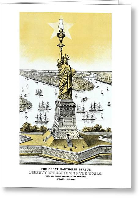 Liberty Island Greeting Cards - Liberty Enlightening The World  Greeting Card by War Is Hell Store