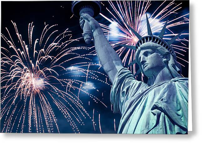 July 4th Photographs Greeting Cards - Liberty fireworks Greeting Card by Delphimages Photo Creations