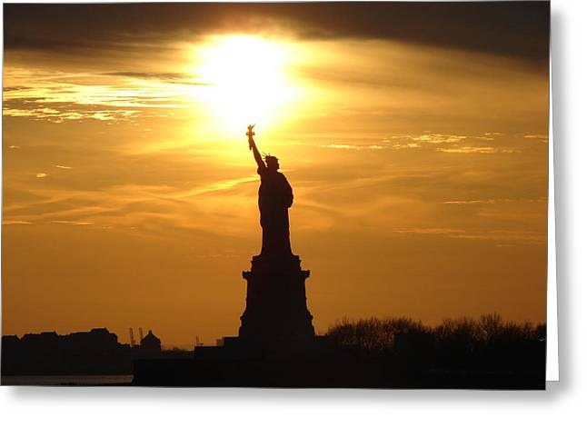 Libertas Greeting Cards - Liberty Flame Greeting Card by John Synnott
