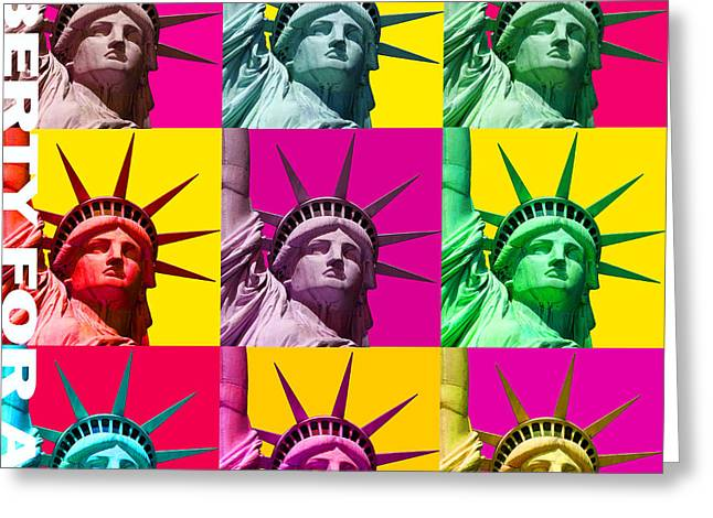 Hockey Guy Greeting Cards - Liberty For All Greeting Card by Neil Finnemore