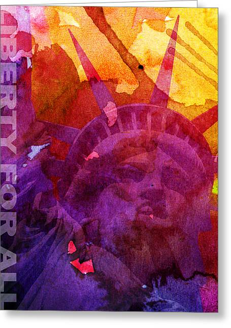 Liberty For All Watercolour Greeting Card by Neil Finnemore
