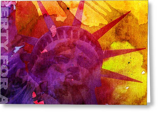 Hockey Guy Greeting Cards - Liberty For All Watercolour Greeting Card by Neil Finnemore