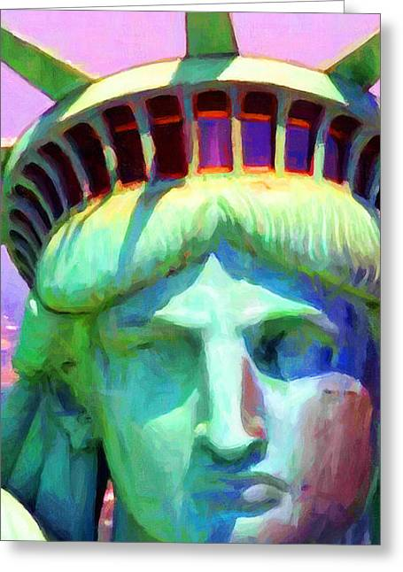 July 4th Greeting Cards - Liberty Head Painterly 20130618 Long Greeting Card by Wingsdomain Art and Photography