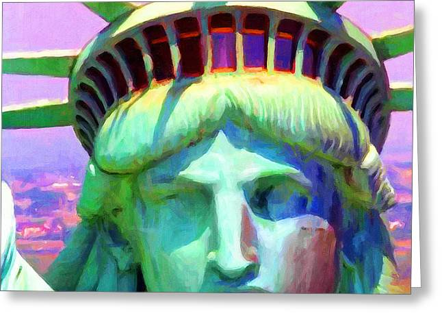 Mother Of Exiles Greeting Cards - Liberty Head Painterly 20130618 Square Greeting Card by Wingsdomain Art and Photography
