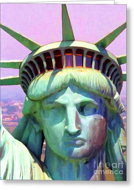Exiles Greeting Cards - Liberty Head Painterly 20130618 Greeting Card by Wingsdomain Art and Photography