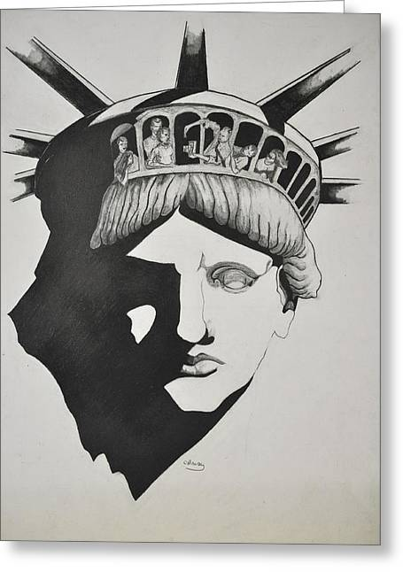 Liberty Head With People Greeting Card by Glenn Calloway