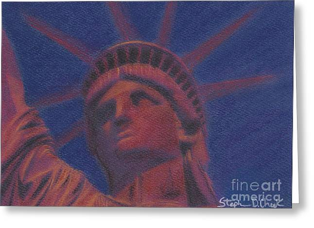 Liberty in Red Greeting Card by Stephen Cheek II