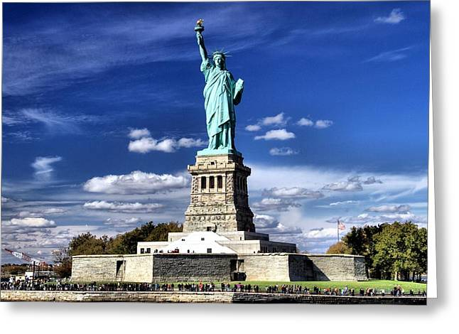 Pledge Of Allegiance Greeting Cards - Liberty Island Greeting Card by Dan Sproul