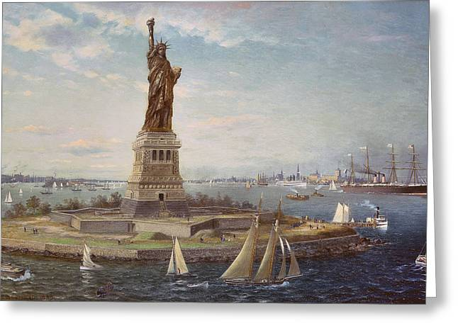 Docked Sailboats Greeting Cards - Liberty Island New York Harbor Greeting Card by Fred Pansing