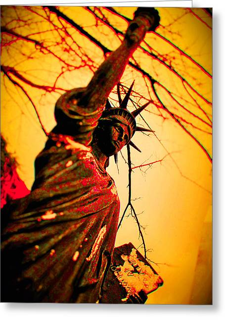 Tn Mixed Media Greeting Cards - Bloodied Liberty Greeting Card by Josh Brown