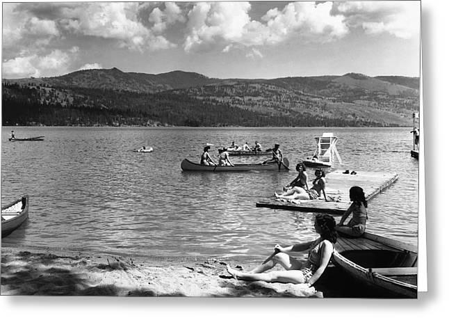 Spokane Greeting Cards - LIBERTY LAKE SUMMER LEISURE in 1940 Greeting Card by Daniel Hagerman