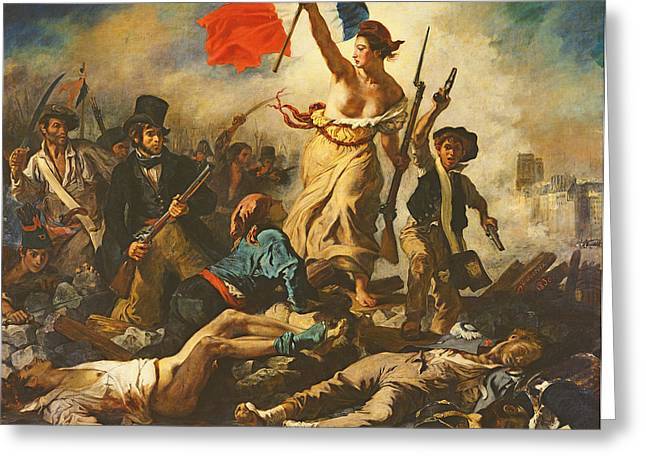 Liberation Greeting Cards - Liberty Leading The People, 28 July 1830, C.1830-31 Oil On Canvas For Detail See 95120 Greeting Card by Ferdinand Victor Eugene Delacroix
