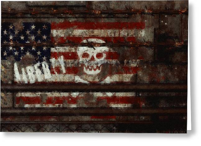 Political Decay Greeting Cards - Liberty Greeting Card by Liam Liberty