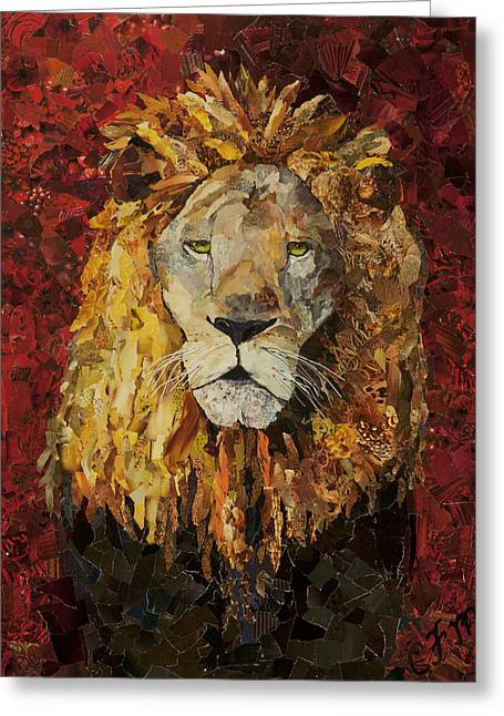 Liberty Lion Greeting Card by Claire Muller