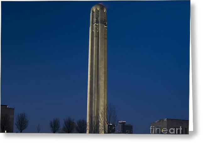 Liberty Memorial at Dusk Greeting Card by Tim Mulina