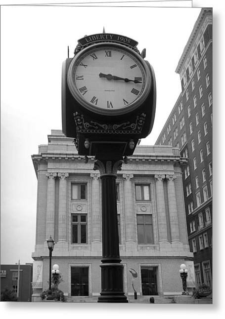 Streetview Greeting Cards - Liberty Mutual Clock Greeting Card by Kelly Hazel