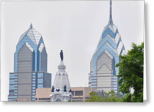 Liberty Place Greeting Cards - Liberty Place City Hall and Comcast Center Greeting Card by Bill Cannon