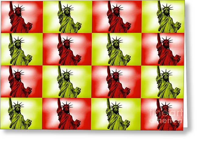 Wallpaper Greeting Cards - Liberty Pop Art Greeting Card by Az Jackson