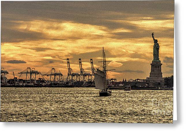 Staten Island Ferry Greeting Cards - Liberty Sailing  Greeting Card by Rob Hawkins