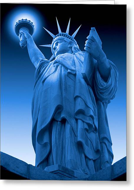 Statue Of Liberty Digital Art Greeting Cards - Liberty Shines On in Blue Greeting Card by Mike McGlothlen
