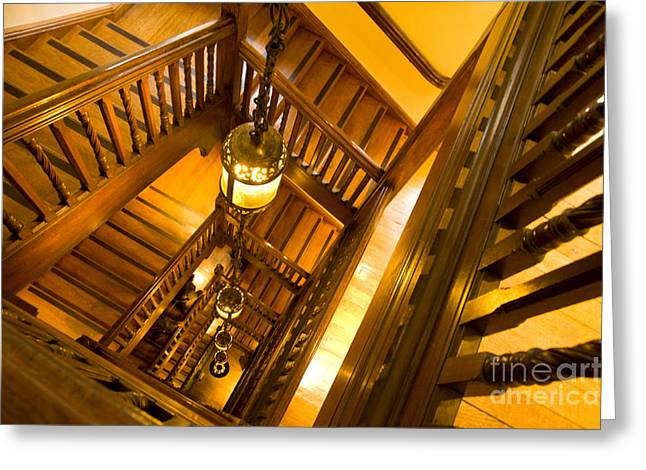 Wooden Stairs Greeting Cards - Liberty Stairwell Greeting Card by Donald Davis