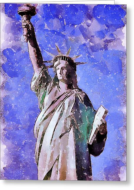 Live Art Greeting Cards - Liberty Stature NY Greeting Card by Yury Malkov