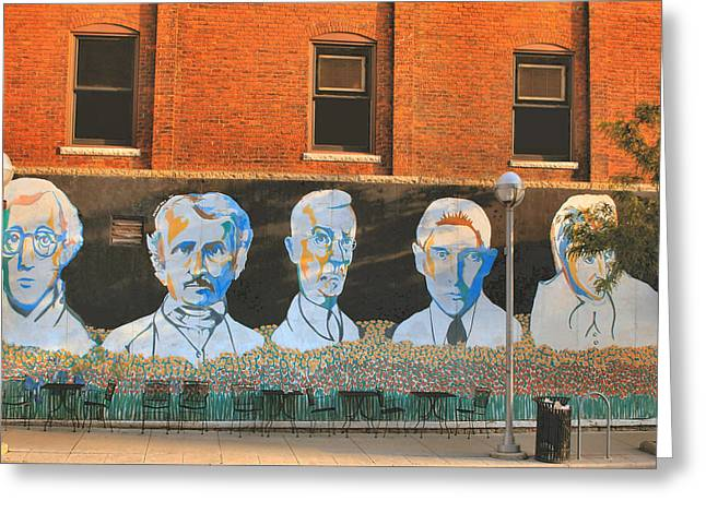 Woody Allen Greeting Cards - Liberty street mural Greeting Card by Pat Cook