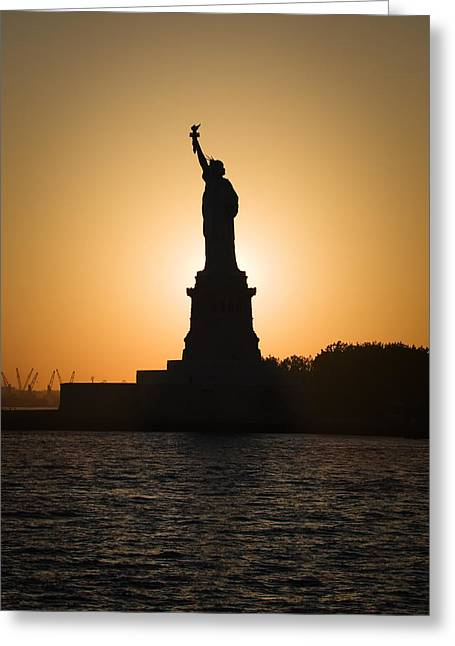 Bartholdi Greeting Cards - Liberty Sunset Greeting Card by Dave Bowman