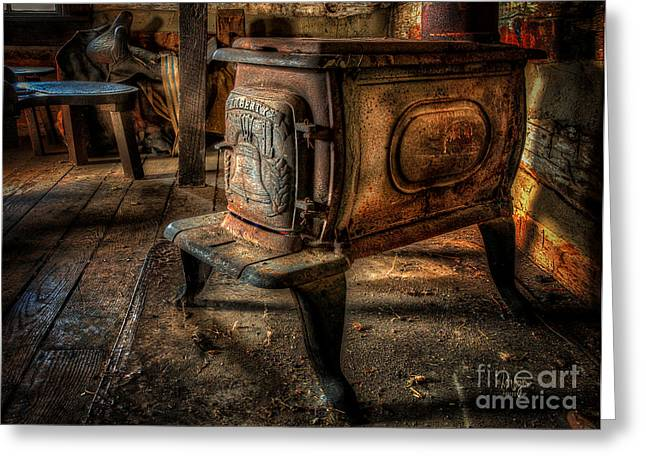 Wood Stove Greeting Cards - Liberty Wood Stove Greeting Card by Lois Bryan