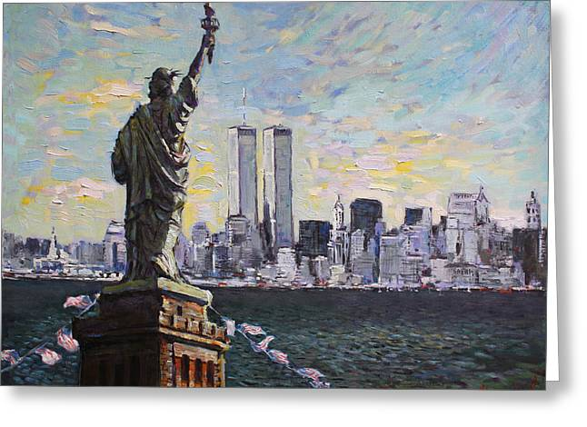 World Trade Center Greeting Cards - Liberty Greeting Card by Ylli Haruni