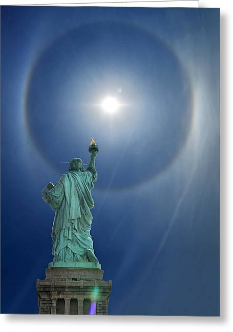 Circumference Greeting Cards - Libertys Halo Greeting Card by Edwin Verin