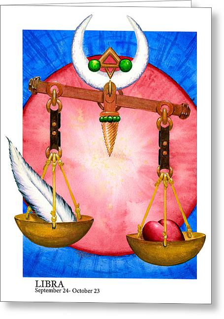 Signs Of The Zodiac Paintings Greeting Cards - Libra Greeting Card by Michael Baum