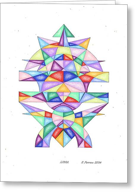 Sacred Drawings Greeting Cards - Libra Zodiac Symbol Greeting Card by Ruthie Ferrone
