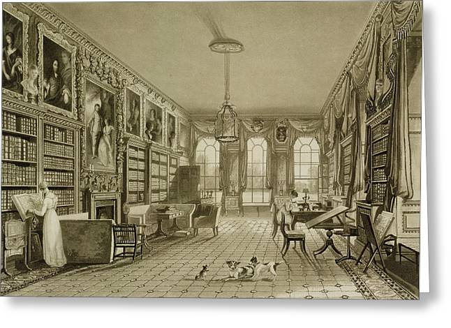 Regency Greeting Cards - Library As Sitting Room, Cassiobury Greeting Card by Augustus Welby Pugin