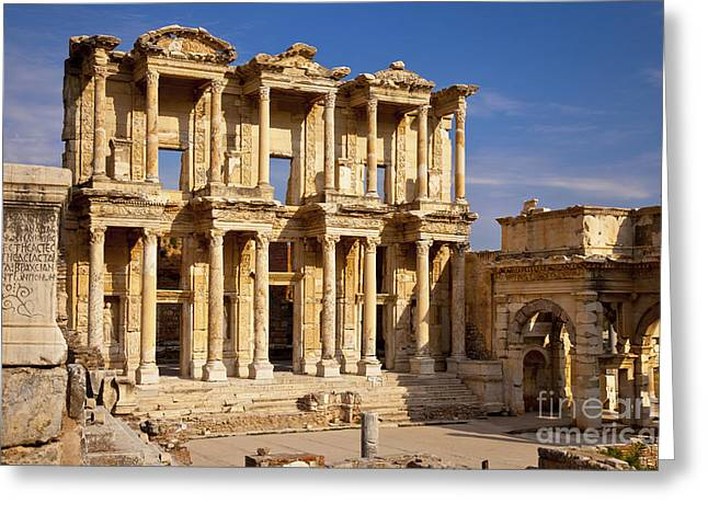 Library At Ephesus Greeting Card by Brian Jannsen