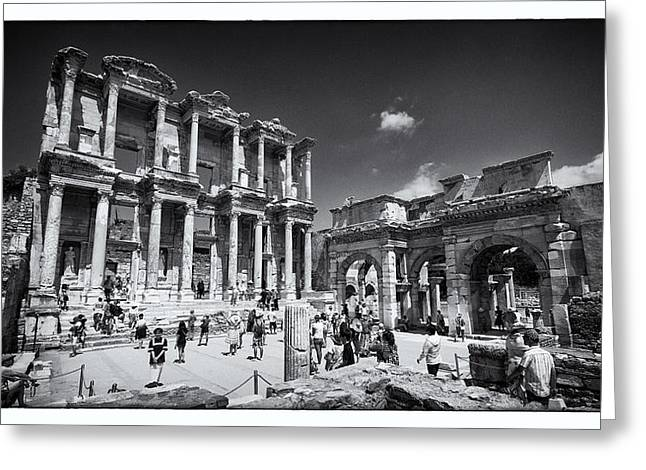 Gospel Greeting Cards - Library of Celsus - Ephesus Greeting Card by Stephen Stookey