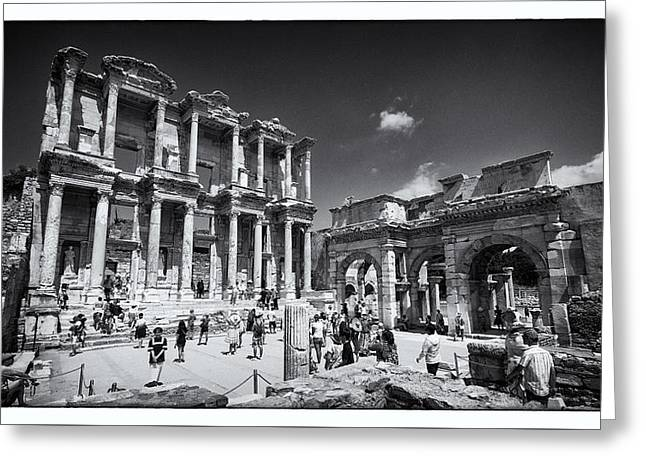 Byzantine Greeting Cards - Library of Celsus - Ephesus Greeting Card by Stephen Stookey