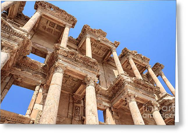 Library Of Celsus Greeting Cards - Library of Celsus Ephesus Greeting Card by Cassidream Photography