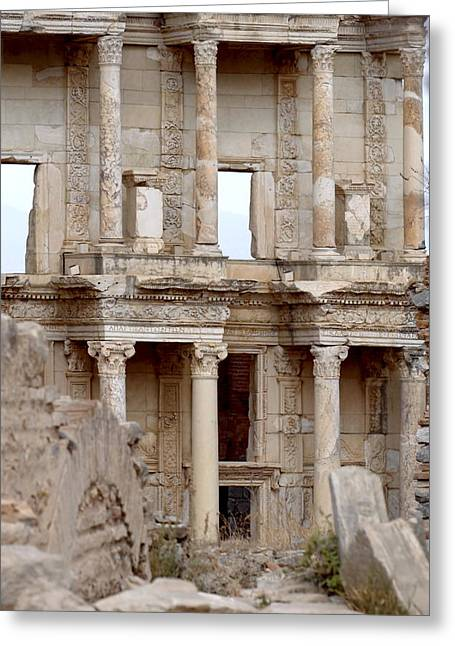 Library Of Celsus Greeting Cards - Library of Celsus Ephesus Turkey Greeting Card by Ronald Jansen