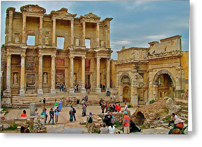 Library Of Celsus Greeting Cards - Library of Celsus in Ephesus-Turkey Greeting Card by Ruth Hager