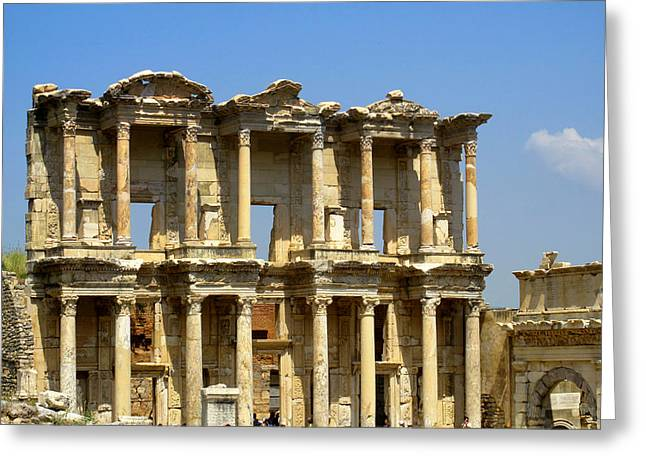 Library Of Celsus Greeting Cards - Library of Celsus is a Gorgeous Ancient Roman Building  Greeting Card by Cimorene Photography