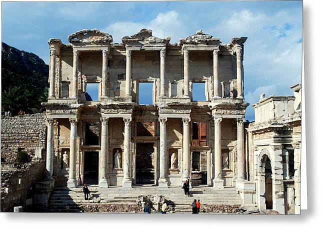 Library Of Celsus Greeting Cards - Library of Celsus Greeting Card by Randy Blaustein
