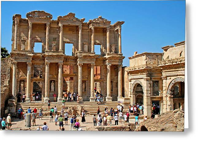 Library Of Celsus Greeting Cards - Ephesus Turkey - Library of Celsus Greeting Card by Richard Krebs