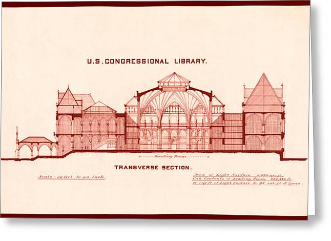 Structure Drawings Greeting Cards - Library of Congress Design 1877 Greeting Card by Mountain Dreams