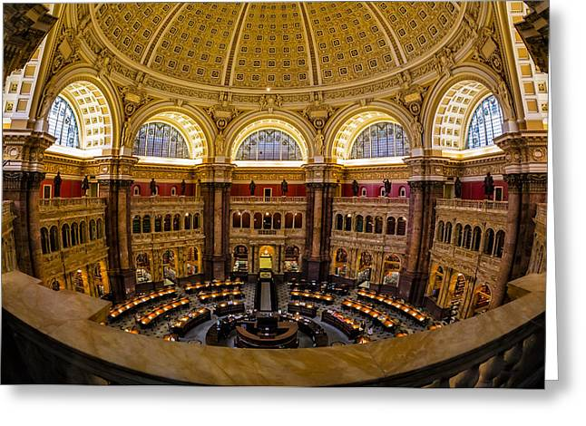 Library Of Congress Greeting Cards - Library Of Congress Main Reading Room Greeting Card by Susan Candelario