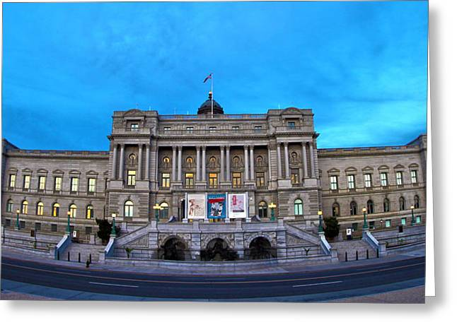 Library Of Congress Greeting Cards - Library of Congress Greeting Card by Mitch Cat