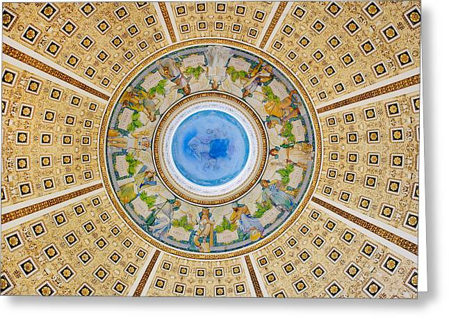 Library Greeting Cards - Library of Congress Reading Room Ceiling Detail Greeting Card by Carol M Highsmithdin