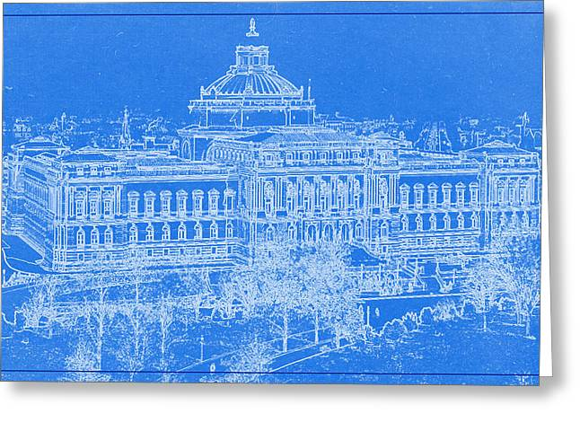 Bravery Mixed Media Greeting Cards - Library of Congress Washington DC 1902 Blueprint Greeting Card by MotionAge Designs