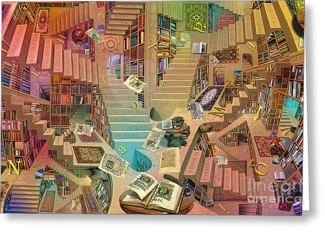 Persian Illustration Greeting Cards - Library of the Mind Art Greeting Card by Garry Walton