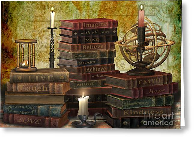 Burgundy Digital Art Greeting Cards - Library of Wisdom Greeting Card by Jean Plout
